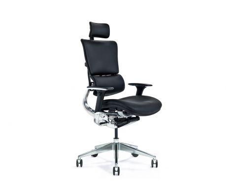 Kožené ergonomické kancelářské křeslo ERGO 900 černé